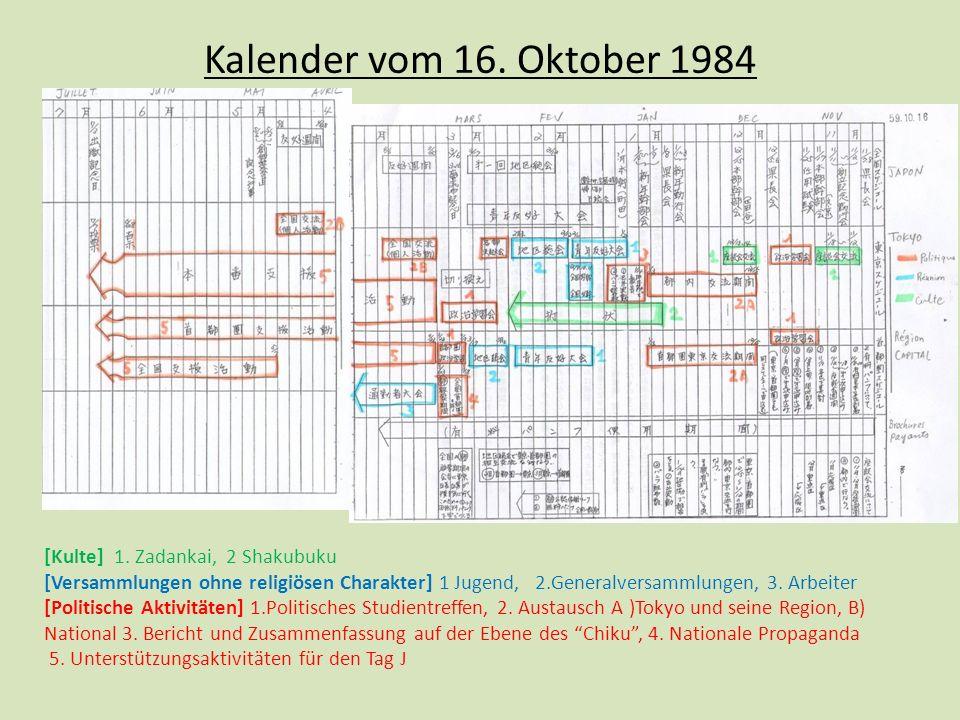 Kalender vom 16. Oktober 1984 [Kulte] 1. Zadankai, 2 Shakubuku
